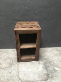 Railway truckwood grove nerf grof oud houten nachtkastjes nachtkastje schap rek 67 x 41 x 41 cm  kast kastje halkastje bijzettafel bijzettafeltje stoer landelijk robuust