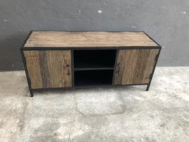 Stoer industrieel landelijk meubel tv televisiekast kast zwart metaal oud hout 130 x 45 X H56 cm