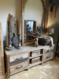 Stoer oud vergrijsd houten dressoir kast tv audio meubel 160 x 60 x 50 cm televisiekast kast sidetable landelijk vergrijsd oud massief