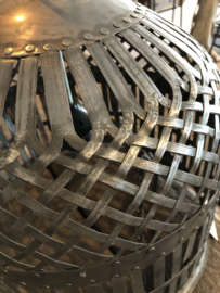 Grijze metalen korf lampekap hanglamp korflamp vintage mand landelijk industrieel