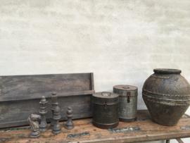 Gave oude metalen blik trommel trommeltje ton tonnetje met deksel industrieel landelijk vintage retro urban