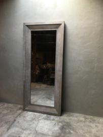 Stoere vergrijsd houten spiegel 200 x 90 cm landelijk grijs hout passpiegel stoer industrieel