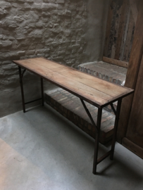 Stoere landelijke houten metalen Sidetable bureau buro klaptafel 183 cm  tuintafel markttafel industrieel landelijk klaptafel