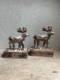 Leuke metalen rendieren rendier op houten voet landelijk vintage industrieel kerst
