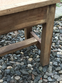 Oude teakhouten bank bankje eettafelbank tuinbank landelijk oud stoer hout teakhout