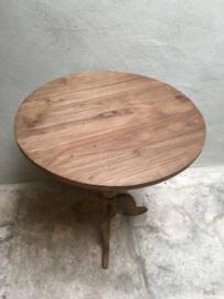 Naturel houten wijntafeltje rond 50 cm tafel tafeltje wijntafel bijzettafel bijzettafeltje landelijk