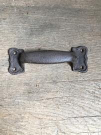 Groot Zware kwaliteit gietijzeren deurknop handgreep greep strak boog bruin beugel handvat bruin klink deurklink