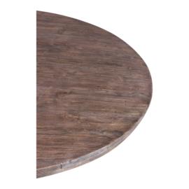 Grote ronde vergrijsd houten tafel eettafel rond 130 cm landelijk stoer robuust grijs hout