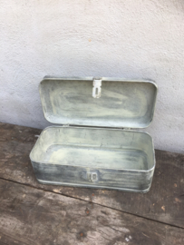 Zinken metalen bak zink koffer kist trommel trommeltje landelijk industrieel nieuw stoer Brocant grijs industrieel