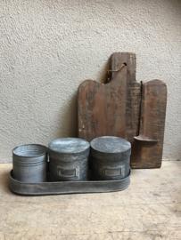 Grijs metalen pot voorraadpot suikerpot blik trommel blikje landelijk industrieel klein voorraadblik trommel
