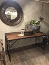 Oude landelijke industriële eettafel klaptafel werkbank werktafel 160 x 80 cm oud vintage stoer