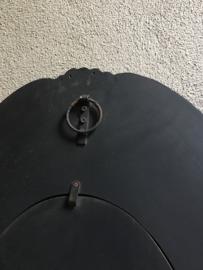 Prachtige grote Houten spiegel spiegeltje osseoog ossenoog oeil de boeuf landelijk mat zwart bruin zwart antraciet grijs vergrijsd hout
