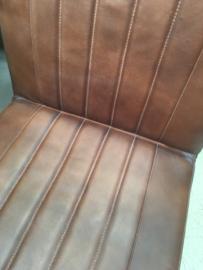Stoere industriële metalen stoel stoelen industrieel vintage landelijk met leren zitting metalen frame eetkamer
