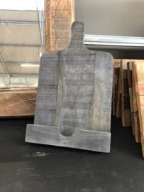 Grijs grijze  teakhouten houten standaard boekenstandaard foto hout ezel broodplank landelijk stoer