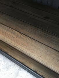 Grote lange industriële trolley kar dressoir kast op wieltjes 180 x 53 x 82 cm Sidetable metalen frame oude houten planken werkbank vergrijsd hout houten keukeneiland industrieel landelijk stoer grijsbruin
