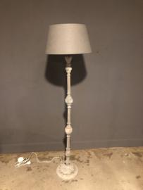 Prachtige in hoogte verstelbare grijs beige vloerlamp staande lamp lampevoet hoog leeslamp landelijk industrieel