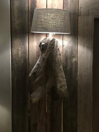 ovaal linnen taupe lampenkap lampekap kap kapje  30 x 17 x H16 cm