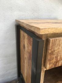 Industriele landelijke nachtkastjes ladenkastje industrieel zwart metaal naturel hout nachtkastje kastje tafeltje hout metaal