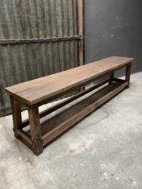 Oud vergrijsd houten bank eetkamerbank eetkamertafelbank Bassano bankje 180 cm landelijk stoer