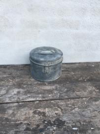 Zinken verzinkte metalen trommel rond bak zink koffer kist landelijk industrieel nieuw toiletrolhouder keukenrolhouder stoer Brocant grijs industrieel