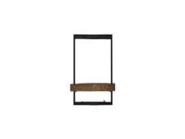 Wandrek metaal hout vintage landelijk industrieel metalen houten 20 x 25 x 35 cm
