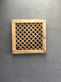 Oud houten wandpaneel raam venster 68 x 68 cm hek hout wanddecoratie landelijk stoer