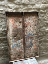 Oud ijzeren plaat paneel Wandpaneel zo stoer! Blad wandbekleding rijplaat tafelblad metaal metalen industrieel landelijk stoer grijsbruin