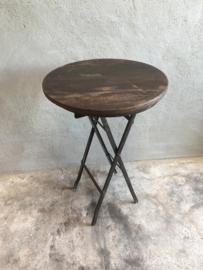 Stoer bijzettafeltje plantentafeltje tafeltje rond metaal hout landelijk industrieel stoer vintage