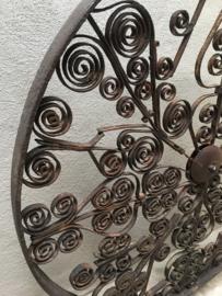 Groot oud metalen Mandela op voet raamscherm hek raampaneel 100 cm 1 m meter decoratiepaneel raamdecoratie stoer urban vintage industrieel landelijk groot