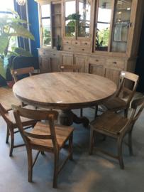Grote oud houten tafel eettafel eetkamertafel rond 140 cm bijzettafel wijntafel wijntafeltje landelijk stoer grijs