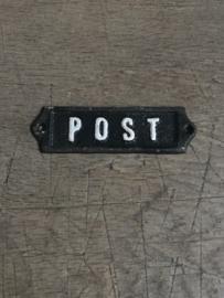 Gietijzeren plaatje deur bordje deurbordje naambordje post zwart wit landelijk nostalgisch industrieel grootmoederstijd brocant