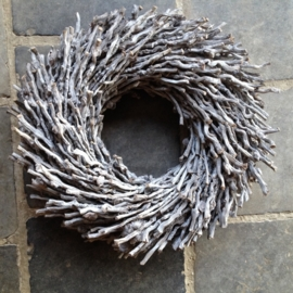 Krans botay botai vergrijsd 40 cm landelijk grijs takkenkrans natuurlijke