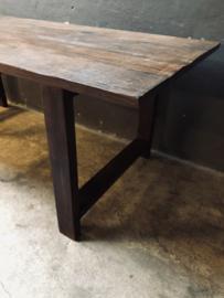 Prachtige grote oud houten tafel 210 x 90 x H76,5 cm eettafel landelijk stoer industrieel vintage doorleefde blad nerf