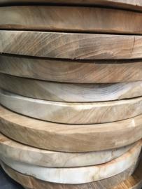 Oude houten chapati roti japati plank rond onderzetter landelijk 30 cm vintage plateau schaal