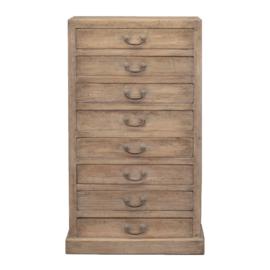Set van 2 Prachtige oude hoge vergrijsd houten ladenkast ladekast wandmeubel archiefkast opbergkast landelijk stoer sober 75 x 45 x H127 cm