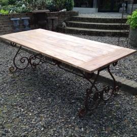 Smeedijzeren tafel onderstel krul 145 x 80 cm landelijk tuintafel tafelonderstel