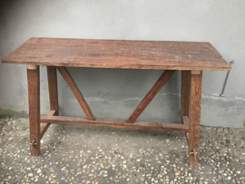 Stoere oude teakhouten Sidetable buro bureau landelijk stoer 160 cm