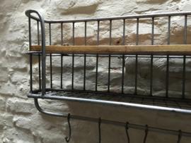 Zwaar metalen met houten wandrek 1-2 legplank 5 haken  zwart handdoekenrek schap kapstok landelijk industrieel
