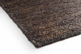 Groot handgewoven 100 % hennep vloerkleed kleed carpet karpet charcoal 240 x 170 cm
