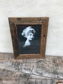 Stoere grijze grijs oud oude vergrijsd houten fotolijstjes  landelijk vergrijsde fotolijst fotomaat 31,5 x 22 cm vintage fotolijstje lijst lijstje landelijk