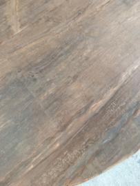 Grote oud vergrijsd houten tafel eettafel bolpoot eetkamertafel rond 150 cm bijzettafel wijntafel wijntafeltje landelijk stoer