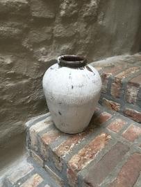 Oude stenen kruik kalk kruikje pot vaas steen landelijk stoer brocant shabby chiq