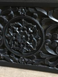 Groot zwart rechthoekig langwerpig Wandpaneel wanddecoratie wandornament 60 x 30 cm