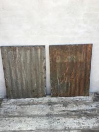 Oude metalen golfplaat lamberisering 90 x 67 cm  Wandpaneel stoer urban wanddecoratie industrieel landelijk grijs bruin