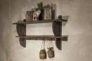 Landelijk vergrijsd houten wandplank wandconcole kapstok wandkapstok hout rek schap plank