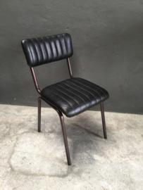 Stoer vintage stoel stoelen stoeltje stoeltjes met bruin leren zitting  metaal schoolstoel model landelijk industrieel