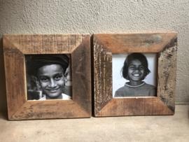 Stoere sloophouten  houten fotolijst lijstje landelijk print prent foto zwart wit robuust hout vintage industrieel stoer foto 28 x 28 cm