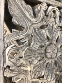 Houten paneel paneeltje Mandela 30 x 30 cm wandpaneel mat hout antraciet
