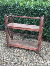 Gaaf oud houten rek keukenkast schap boekenkast Bakkersrek winkelkast landelijk vintage industrieel hout