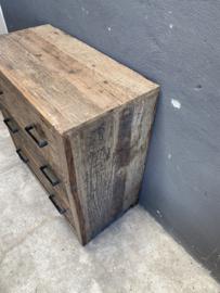 Stoere railway truckwood houten ladekast ladenkast landelijk stoer vergrijsd industrieel 80 x 80 x 40
